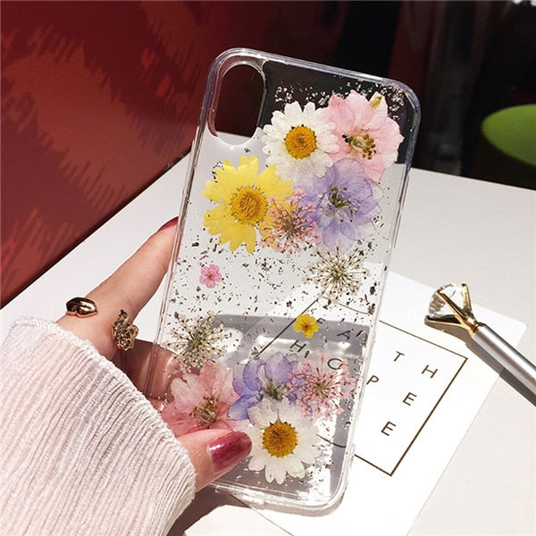 Qianliyao Dried Flower Silver foil Clear Phone Cases For iPhone XS Max XR X 6 6S 7 8 Plus 11 Pro Max SE Soft Silicone Back Cover