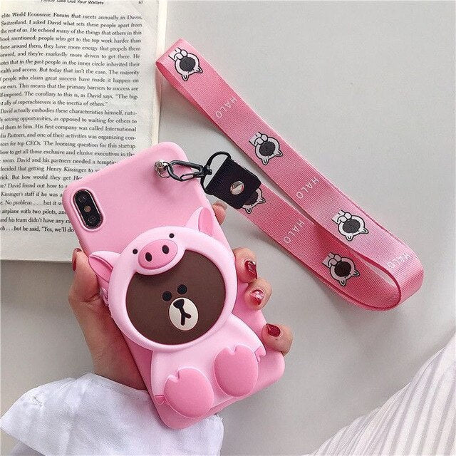 VOZRO Cartoon Silicone Coin Purse Phone Case For IPhone 6 6s 7 8 Plus  X  XR XS 11 Pro Max Anti-fall  For IPhone 11 Case Cover