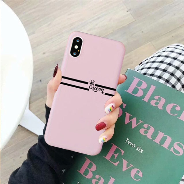 JAMULAR King Queen Lovers Couple Case For iPhone X XS MAX X XR 11 Pro SE 2020 7 8 6Plus Black White Silicon Soft Phone Cover Bag