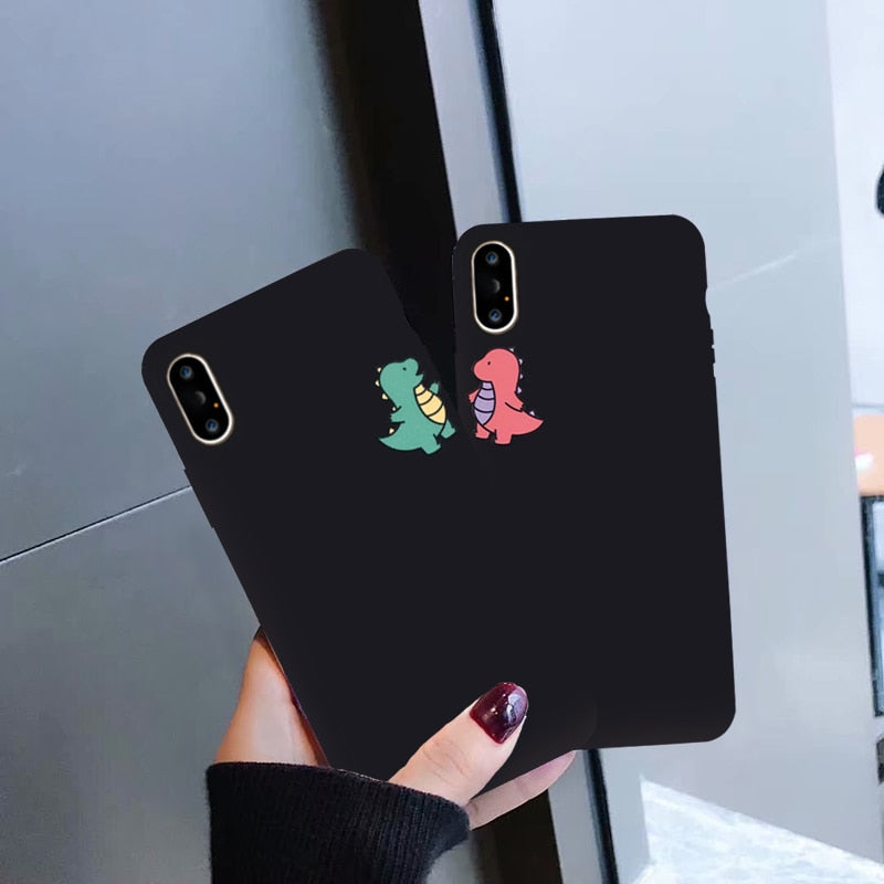 GYKZ Cartoon Dinosaur Phone Case For iPhone 7 11 Pro X XS MAX XR 8 SE 6 Plus Cute Couple Black Soft Silicone Back Cover Capa Bag