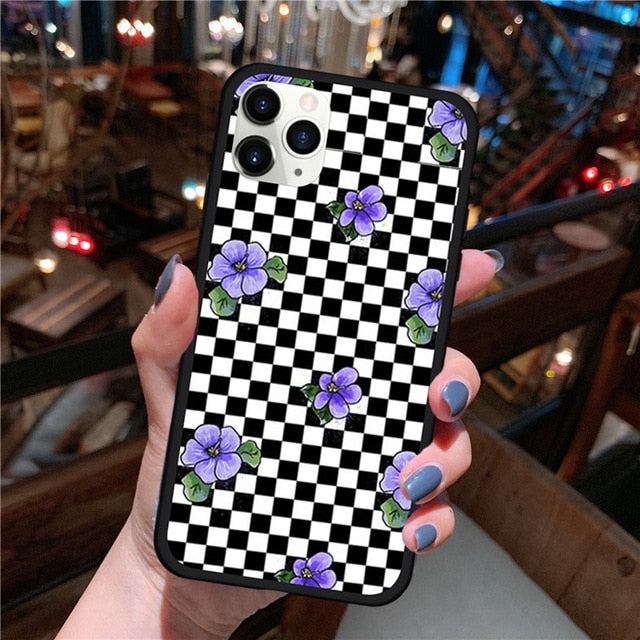 Pink Cow Pattern Case for IPhone 11 Violet Checkered Phone Cover for IPhone XR X XS Max 8 7 6 Plus SE2 Rainbow Cow Print Case