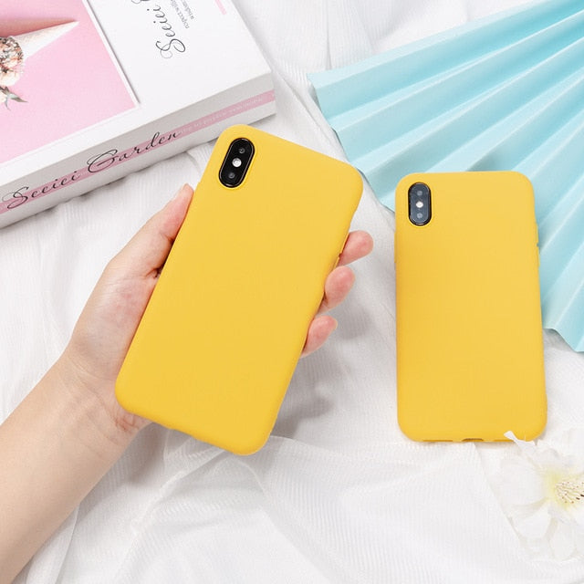 Silicone Solid Color Case for iPhone 11  8 Plus 7 6 6S  Soft Cover candy Phone Cases for iPhone XS 11 Pro MAX XR X XS Max