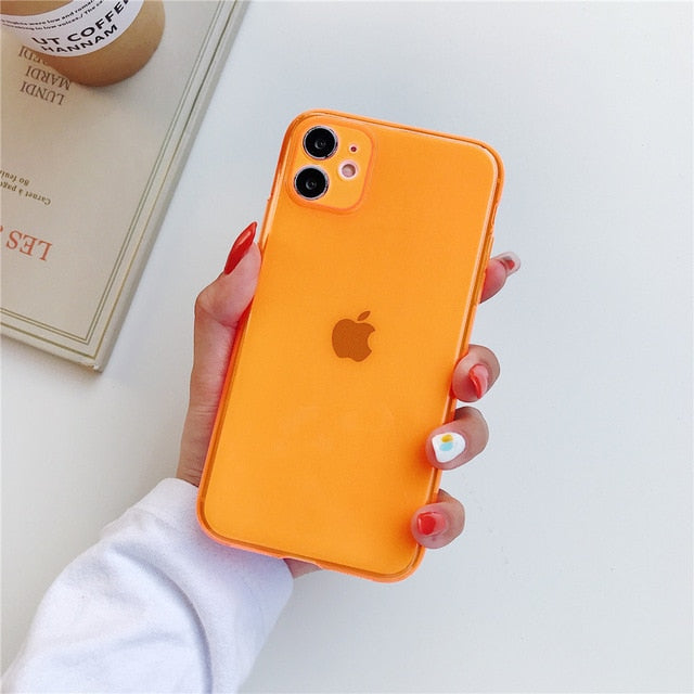 ins Fluorescence Sport Brand White label Phone Case for iPhone 11 Pro X XS MAX XR 7 8 6 Plus Cute Clear Soft Silicon Cover Coque