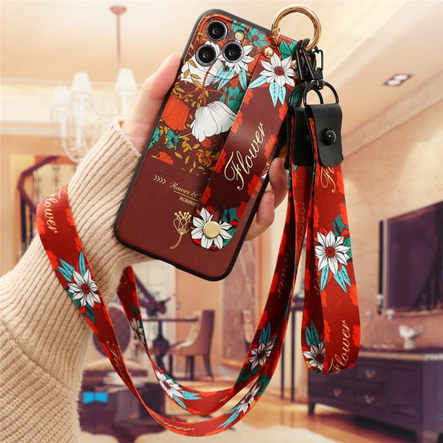 Wrist Strap Case For iPhone 12 11 11Pro SE 2 2020 7 8 Plus 6 6s 5 For iPhone 12 11 Pro X XR XS Max Flower Neck Lanyard Capa Etui