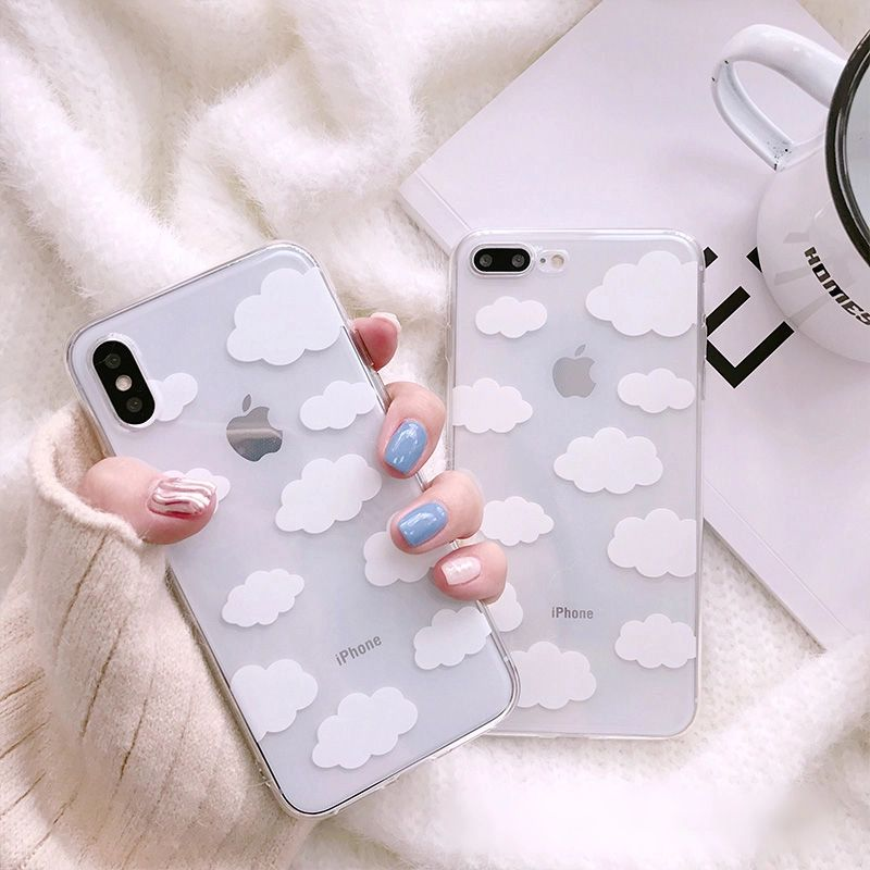Transparent White Cloud Print Phone Case For IPhone 11 Pro MAX Xs Xr 6s 7 8 Plus SE2 Clear TPU Back Cover