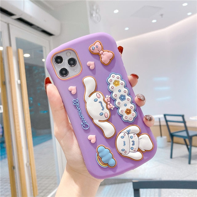 Cute Sanrio 3D Cinnamoroll Purin Warm Plush Soft Phone Case for Iphone 7 7plus 8 8plus X XR XS MAX Cover for Iphone 11 Pro Max