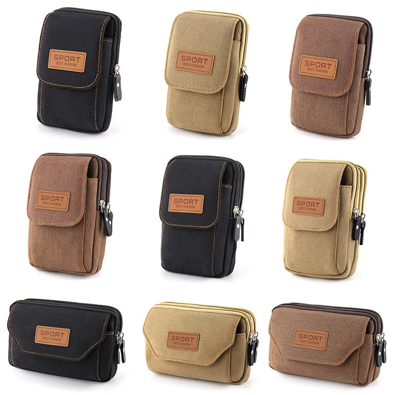 Universal Canvas Mobile Phone Bag For Samsung/iPhone/Huawei/HTC/LG/Xiaomi Wallet Case Belt bag CellPhone Pouch Pocket Handbag
