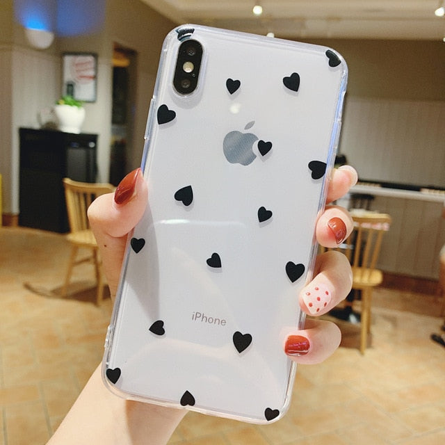 Phone Case For iPhone 11 6 6s 7 8 Plus X XR 11Pro XS Max Cute Cartoon Love Heart Transparent Soft TPU For iPhone SE 2020 Cover
