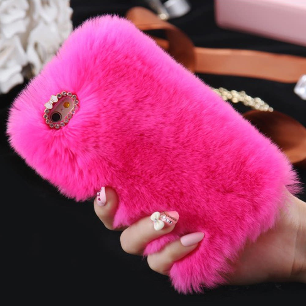 L-FADNUT Cute Fur Fluffy Phone Case For iPhone X Xr Xs 11 Pro Max 5 5S SE 2020 Luxury Diamond 6S 6 7 8 Plus Girl Cover Soft 360