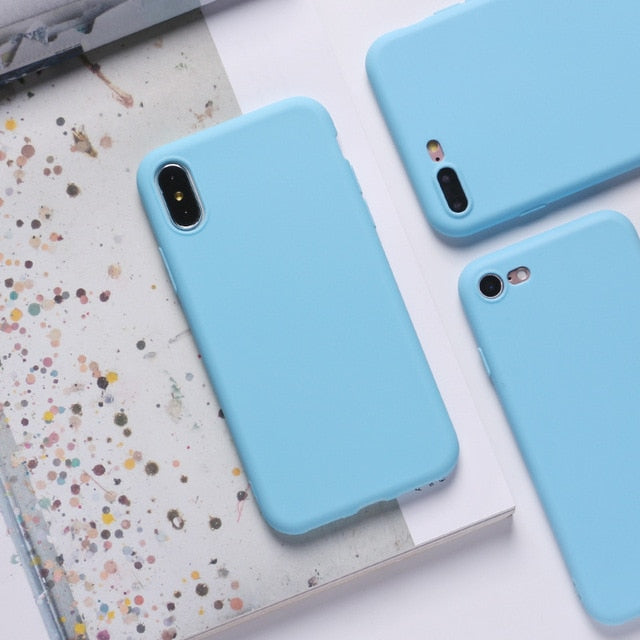 Luxury Soft Color Phone Case for iPhone 7 8 6 6S Plus SE 2020 Case Silicone Back Cover Coque for iPhone X XS 11 Pro Max XR Etui