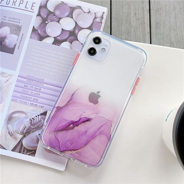 Marble Phone Case For Apple iPhone 11 Pro XS Max SE 2020 12 7 8 Plus X XS XR Case Transparent Color Full Protective Clear Cover