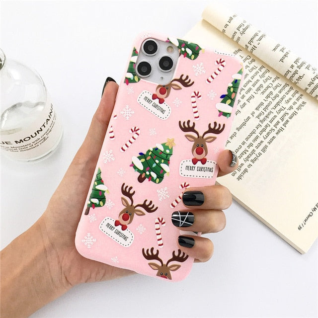 Ottwn Christmas Elk Santa Claus Phone Case For iPhone 11 Pro Max 7 8 6 6s Plus X XR XS Max SE 2020 Silicone Soft TPU Back Cover