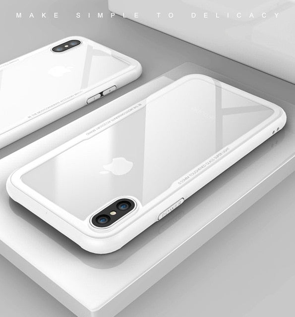 Tempered Glass Case For iPhone 12 12Pro 11 Pro X XR XS Max SE2 High Quality Clear Soft Silicone Glass Cover For iPhone 7 8 Plus