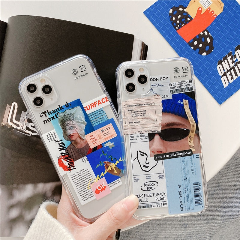 Funny Fashion art Label Clear Phone Case for iPhone 12 11 Pro Max X XR XS Max SE 2020 Cases For iphone 7 8 6s Plus Soft Covers