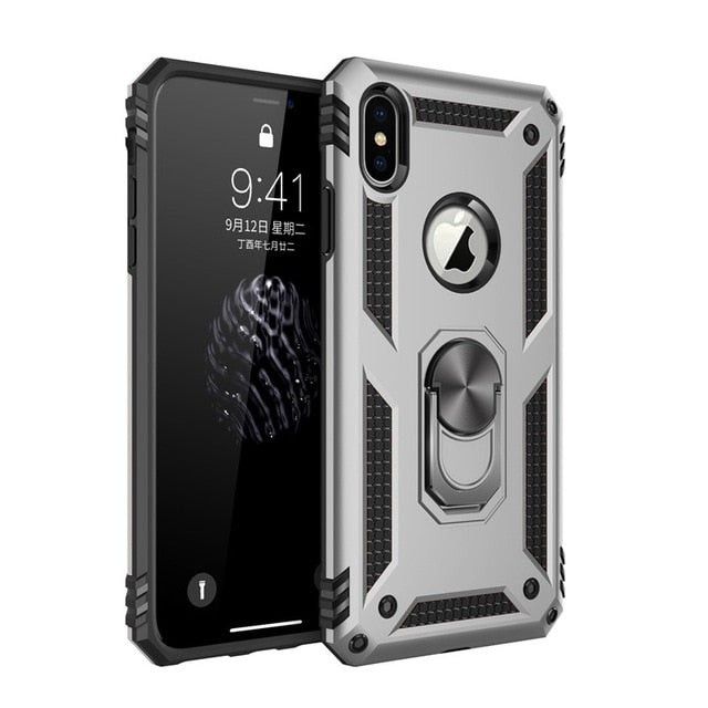 Shockproof Armor Kickstand Phone Case For iPhone 12 11 Pro XR XS Max X 6 6S 7 8 Plus Finger Magnetic Ring Holder Anti-Fall Cover