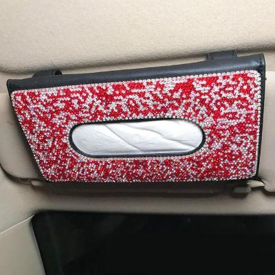 Diamond Sleek Leather Tissue Holder - Red Robin