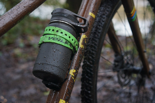 The Earthwell bottles work well with bottle cages or cargo cages