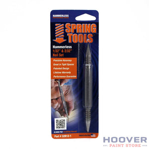 "Spring Tools Hammerless Nail Set drives 1/32"" and 2/32"" nails. Available at Hoover Paint Store."