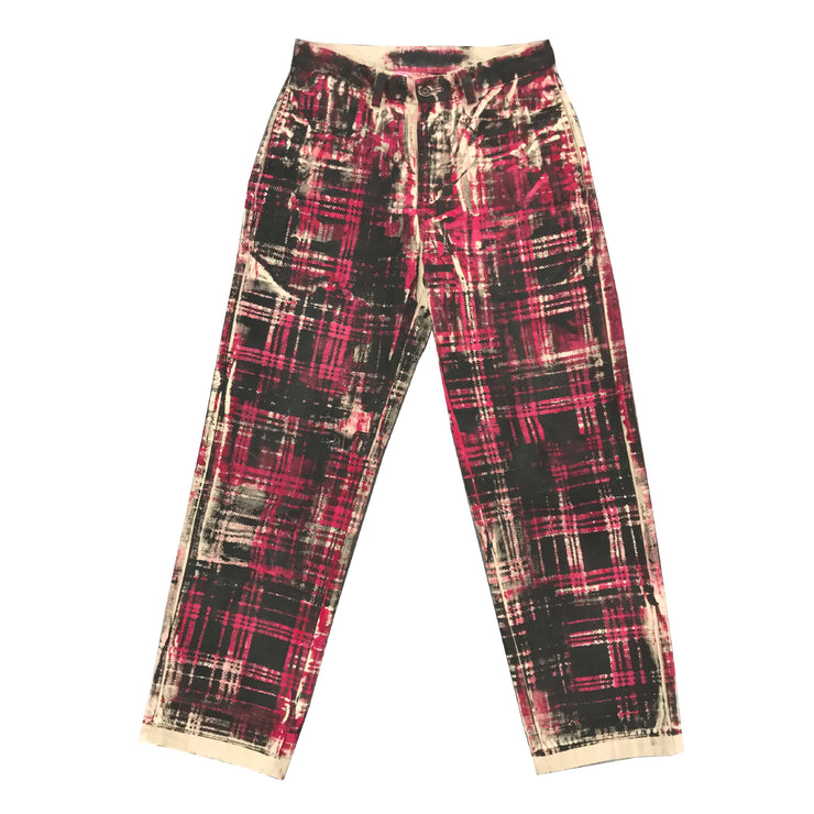 Red/Black Mismatch Tartan Pants