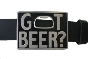 Beverage Bottle Opener Got Beer slogan Black Belt Buckle