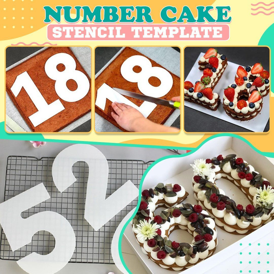 Number Cake Stencil Template