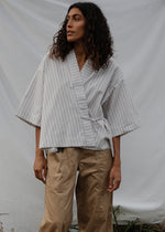 Load image into Gallery viewer, Wrap Shirt | Brown/Blue Stripe