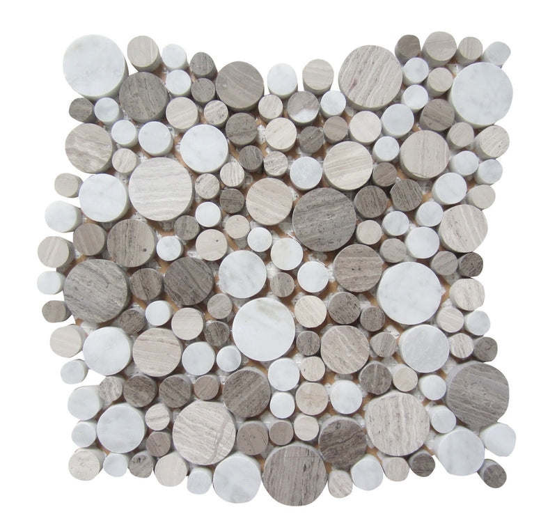 "Interceramic Marble Mosaic Bubbles 12"" x 12"""