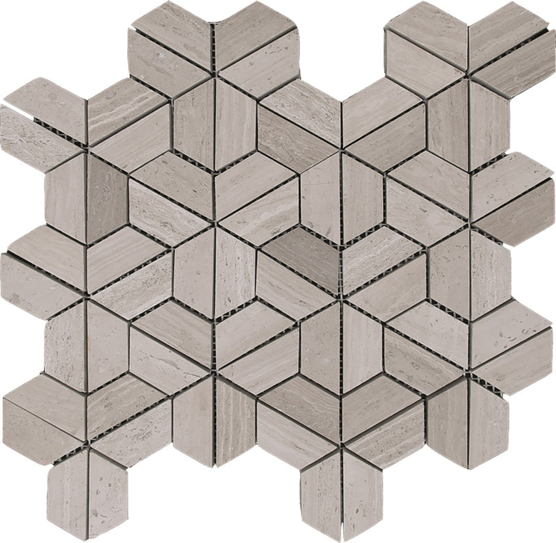 "Interceramic Marble Mosaic Split Hex 12"" x 12"" Madera White"