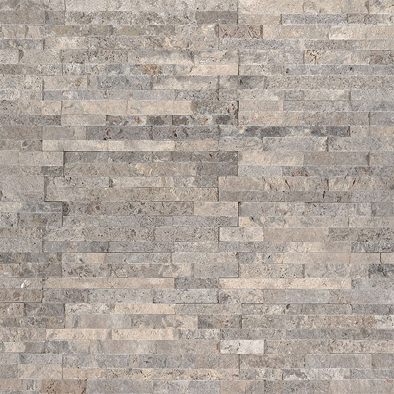 "MS International Mini Stacked Stone 4.50"" x 16"" Silver Travertine"