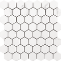 "Happy Floors Statuario 10.5"" x 11"" Small Hex White Glossy"