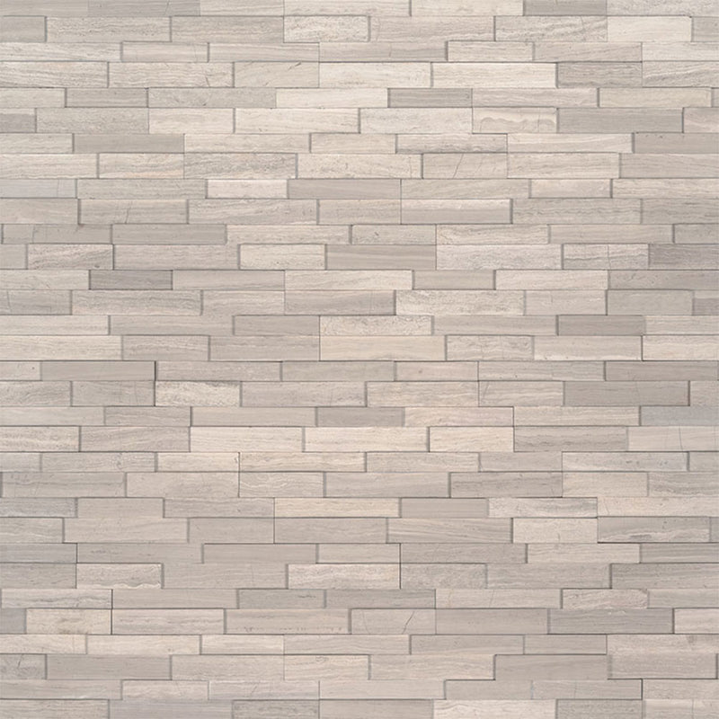 "MS International Mini Stacked Stone 4.50"" x 16"" White Oak"