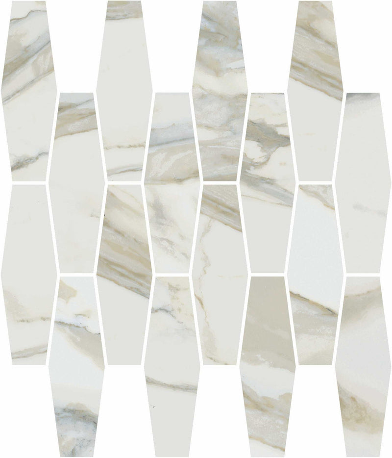 "Angel Collection Stratus 12"" x 12"" Elongated Hexagon Grigio Polished"