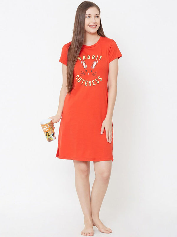 Cute Rabbit Red Nighty