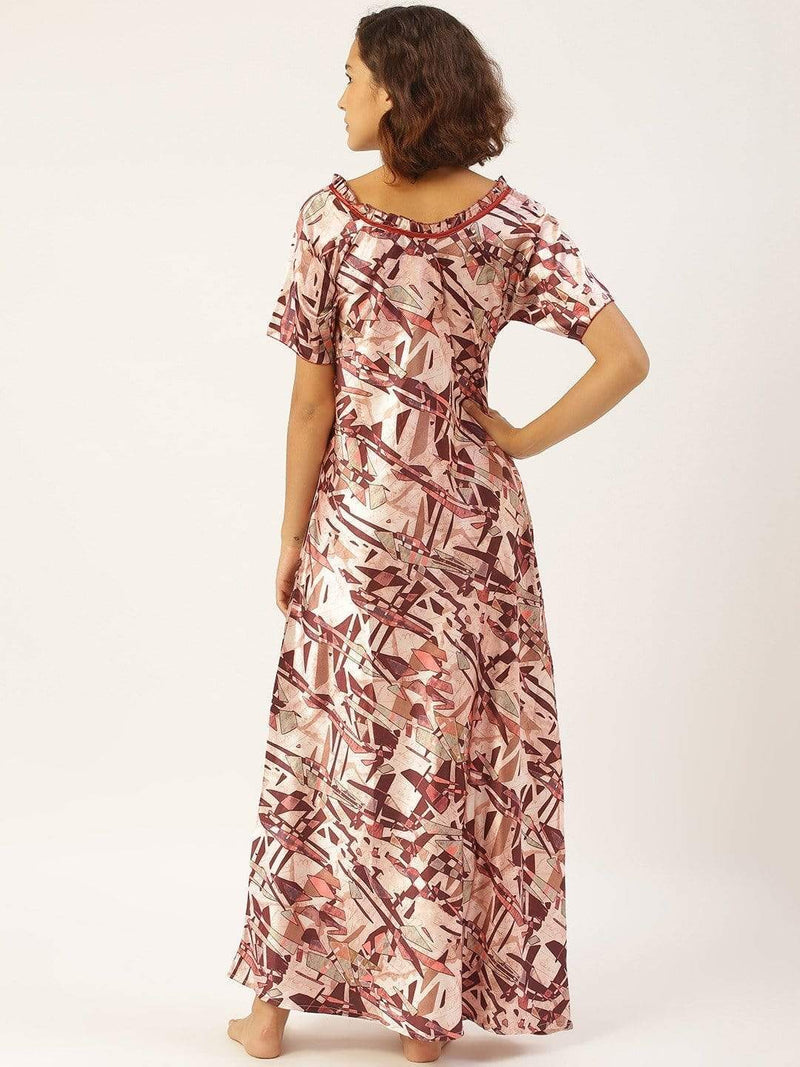 Geometric Flowy Peach Maxidress