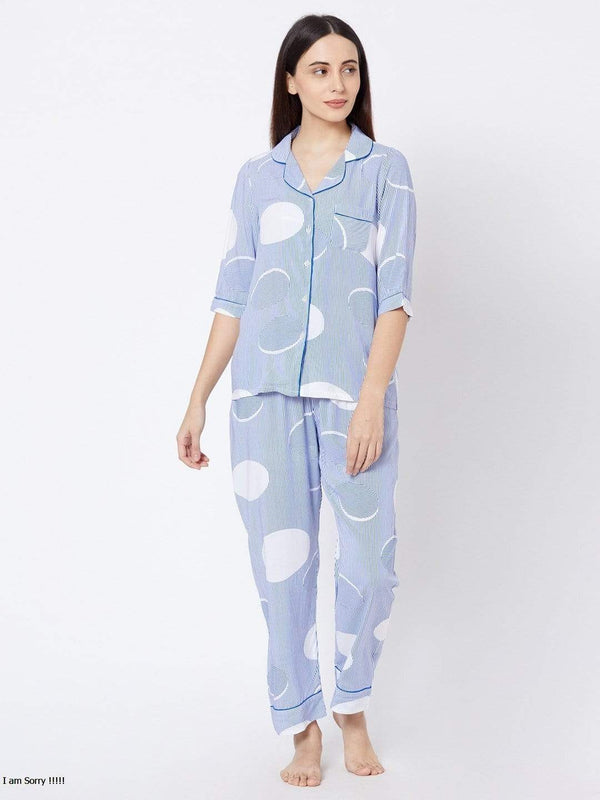 Pink Blue Polka Dot Pyjama Set