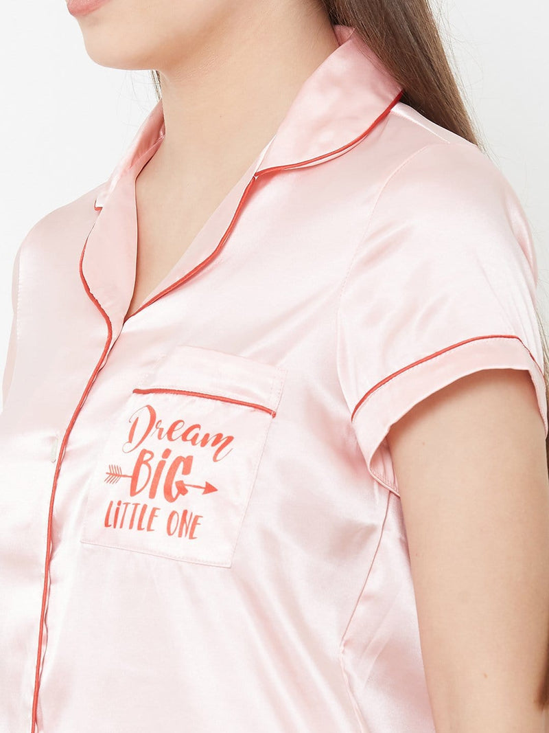 Peach Satin Pyjama Set