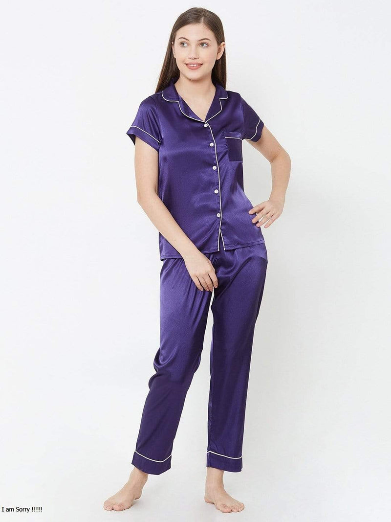 Navy Blue Satin Pyjama Set