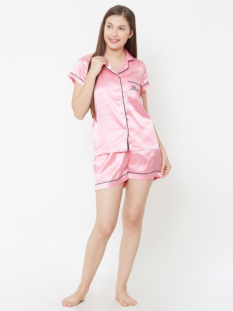 Bride Light Pink Satin Shorts Set