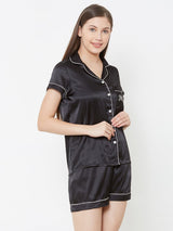 Mum Black Satin Shorts Set