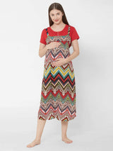 Geometric Print Maternity Nightdress