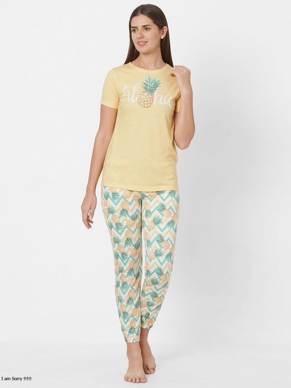 Yellow and White Printed Pyjama Set