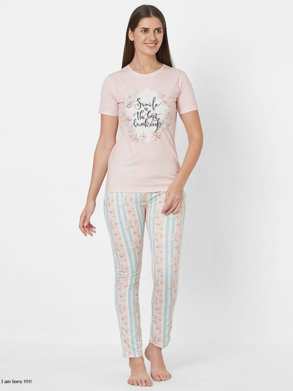 Pink and Blue Printed Pyjama Set