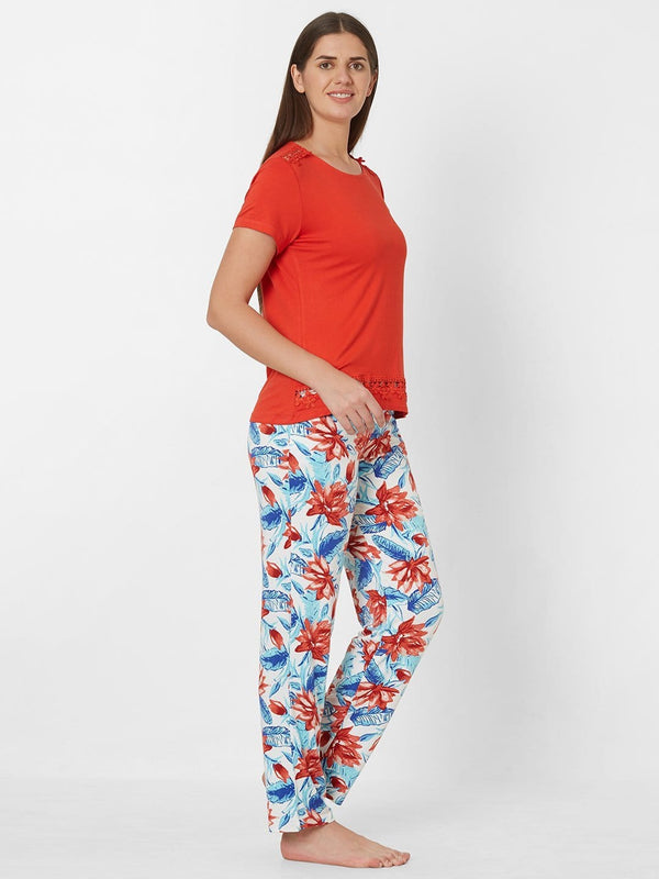 Red and White Printed Pyjama Set
