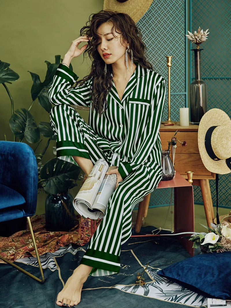 Striped chic satin pyjama set