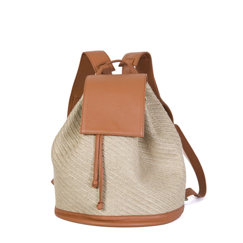 Bahama Backpack in Natural Straw & Brandy