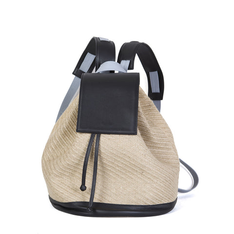 Bahama Backpack in Natural Straw, Black & Light Blue