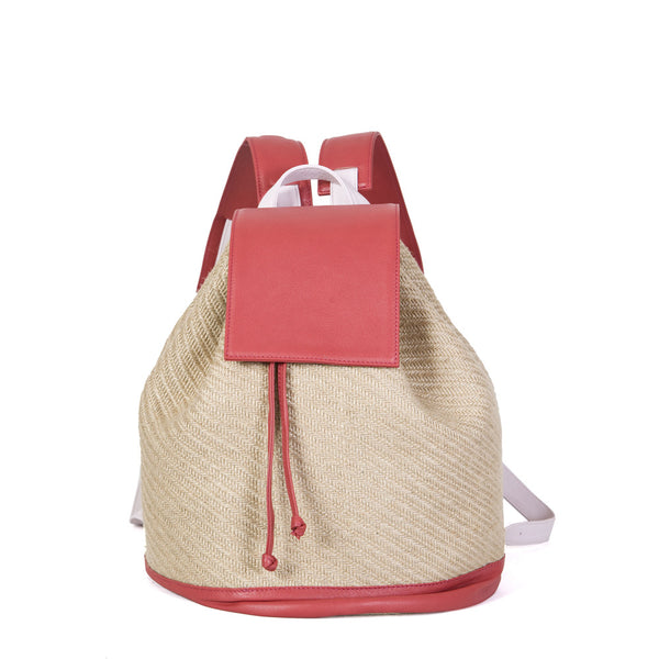 Bahama Backpack in Natural Straw, Ruby Red & Baby Pink
