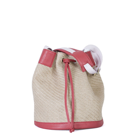 Bermuda Shopping Bag in Natural Straw, Ruby Red & Baby Pink