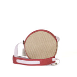 Aruba 'O' Bag in Natural Straw, Ruby Red & Baby Pink
