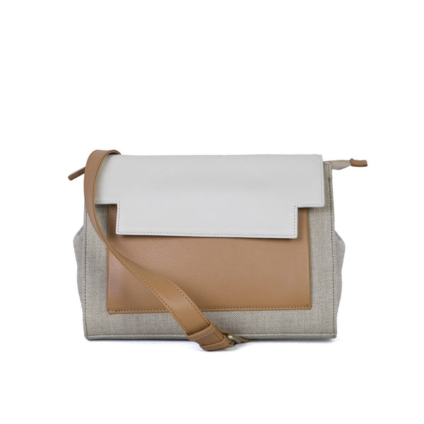 May Messenger in Ochre Linen, Tabac & Cream